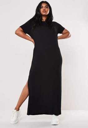 Missguided Plus Size Black T Shirt Maxi Dress