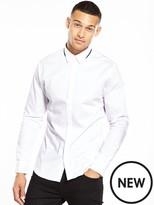 Selected Long Sleeve Contrast Collar Shirt