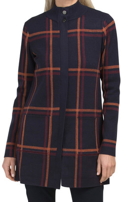 Double Knit Plaid Mock Neck Zip Front Cardigan