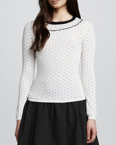 RED Valentino Long-Sleeve Tee with Ruffled Neckline