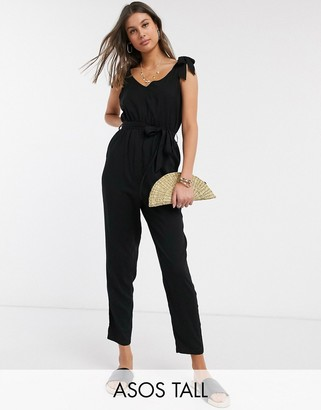Asos Tall ASOS DESIGN Tall tie strap jumpsuit in black