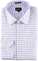 Neiman Marcus Regular-Finish Classic-Fit Two-Tone Plaid Dress Shirt, Purple/Blue