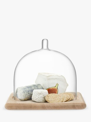 LSA International Serve Arch Glass Cake / Cheese Dome with Oak Wood Base, 25cm, Clear/Natural