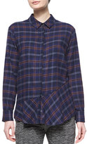 Thakoon Plaid Flannel Open-Back Shirt, Navy