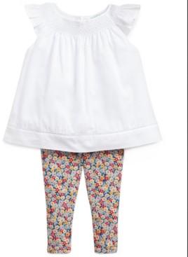 Polo Ralph Lauren Ralph Lauren Baby Girls 2-Pc. Floral-Print Top & Bloomers Set