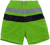 I Play Swim Diaper Block Board Shorts (Baby)-Lime-18-24 Months
