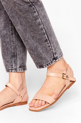 Nasty Gal Womens Don't Go Square Faux Leather Flat Sandals - Nude