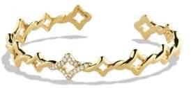 David Yurman Venetian Quatrefoil Cuff Bracelet with Diamonds in Gold