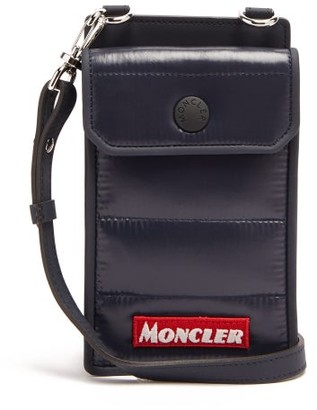 Moncler Applique-logo Padded Phone Case Neck Bag - Navy