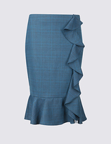 M&S Collection Checked Ruffle Pencil Midi Skirt