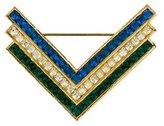 Kenneth Jay Lane Crystal Chevron Brooch Pin