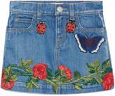 Gucci Children's embroidered denim skirt