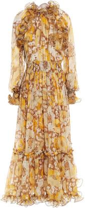 Zimmermann Super Eight Ruffle-trimmed Floral-print Silk-georgette Maxi Dress