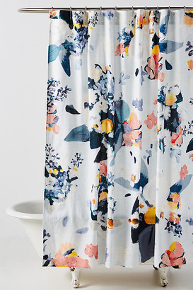 Anthropologie Botanica Shower Curtain By in Blue Size 72 X 72