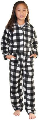 Angelina Sleep Bottoms Black - Black & White Buffalo Check Pocket Fleece Pajama Set - Toddler