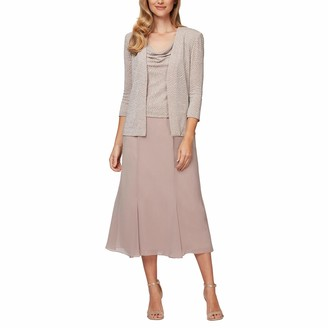 Alex Evenings Women's Petite Tea Length Cowl Neckline Jacket Dress