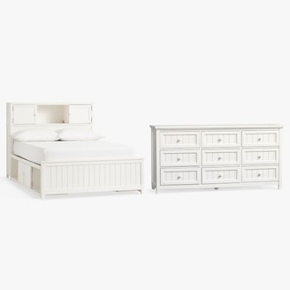 Pottery Barn Teen Beadboard Storage Bed & 9-Drawer Dresser Set - Simply White