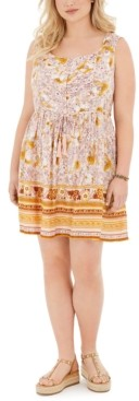 Band of Gypsies Trendy Plus Size Mixed-Print Dress