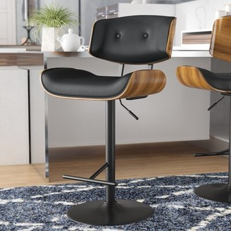 Wade Logan Arlon Swivel Adjustable Height Bar Stool Upholstery: Black