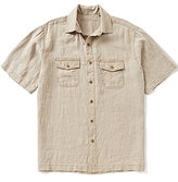 Caribbean Short Sleeve Two Pocket Solid Pigment Print Linen