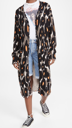 R 13 Long Cotton Leopard Cardigan