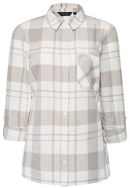 Dorothy Perkins Womens Beige Check Linen Look Shirt