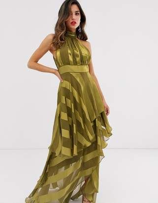 Asos Design DESIGN high neck tiered maxi dress in sheer and solid stripe-Gold