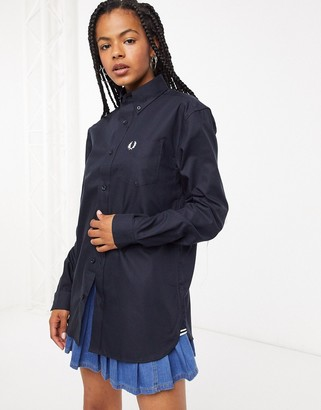 Fred Perry oversized mensy oxford shirt in navy