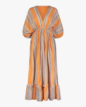Lemlem Amira Orange Plunge-Neck Dress