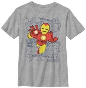 Fifth Sun Marvel Big Boy's Iron Man Retro Portrait Sketch Background Short Sleeve T-Shirt