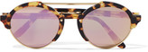 Illesteva Milan Ii Round-frame Acetate And Gold-tone Mirrored Sunglasses - Purple