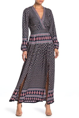 Raga Avah Geometric Print Split Front Maxi Dress