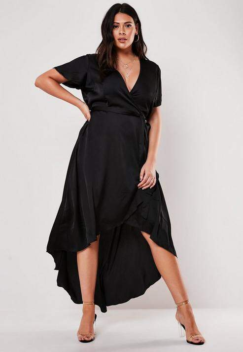 Plus Size Black Satin Wrap Maxi Dress