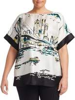 Lafayette 148 New York, Plus Size Manhattan Vista Silk Karleya Blouse