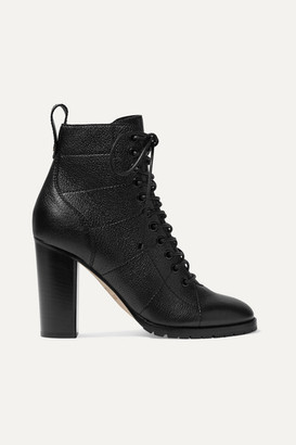 Jimmy Choo Cruz 95 Textured-leather Ankle Boots - Black