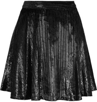 Alice + Olivia Blaise Striped Metallic Velvet Mini Skirt