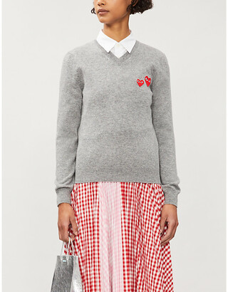 Comme des Garcons Branded applique V-neck wool jumper