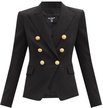 Balmain Double-breasted Cotton-twill Blazer - Black