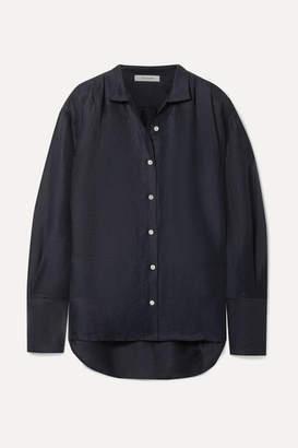 Frame Oversized Linen-blend Shirt - Midnight blue