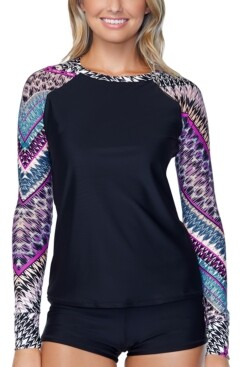 Raisins Juniors' Wild About You Printed Long-Sleeve Rash Guard, Created for Macy's Women's Swimsuit