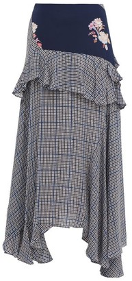 Preen Line Jolissa Checked Ruffle-trim Crepe Midi Skirt - Multi