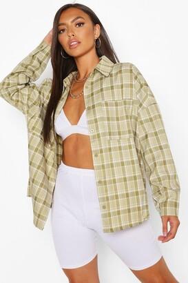 boohoo Petite Oversized Check Shirt