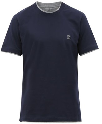 Brunello Cucinelli Logo-embroidered Layered Cotton T-shirt - Mens - Navy