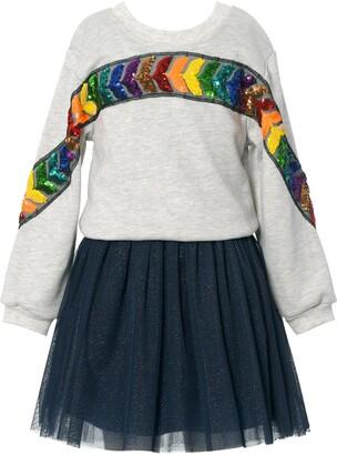 Truly Me Kids' Rainbow Sequin Two-Piece Tutu Dress