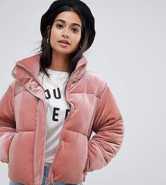 Asos DESIGN Petite ultimate puffer in velvet with funnel neck-Pink