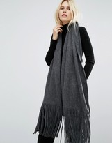Pieces Long Knitted Scarf with Oversized Tassels