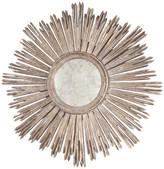 Worlds Away Margeaux Handcarved Starburst Mirror, Silver