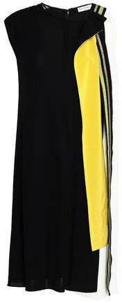 Vionnet Asymmetric Pleated Color-Block Crepe Dress