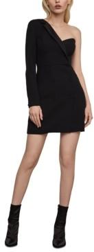 BCBGMAXAZRIA One-Shoulder Tuxedo Mini Dress