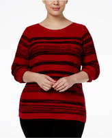 Karen Scott Plus Size Mixed-Stripe Sweater, Only at Macy's